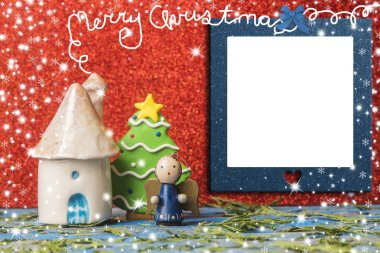 Christmas cards, empty photo frame.
