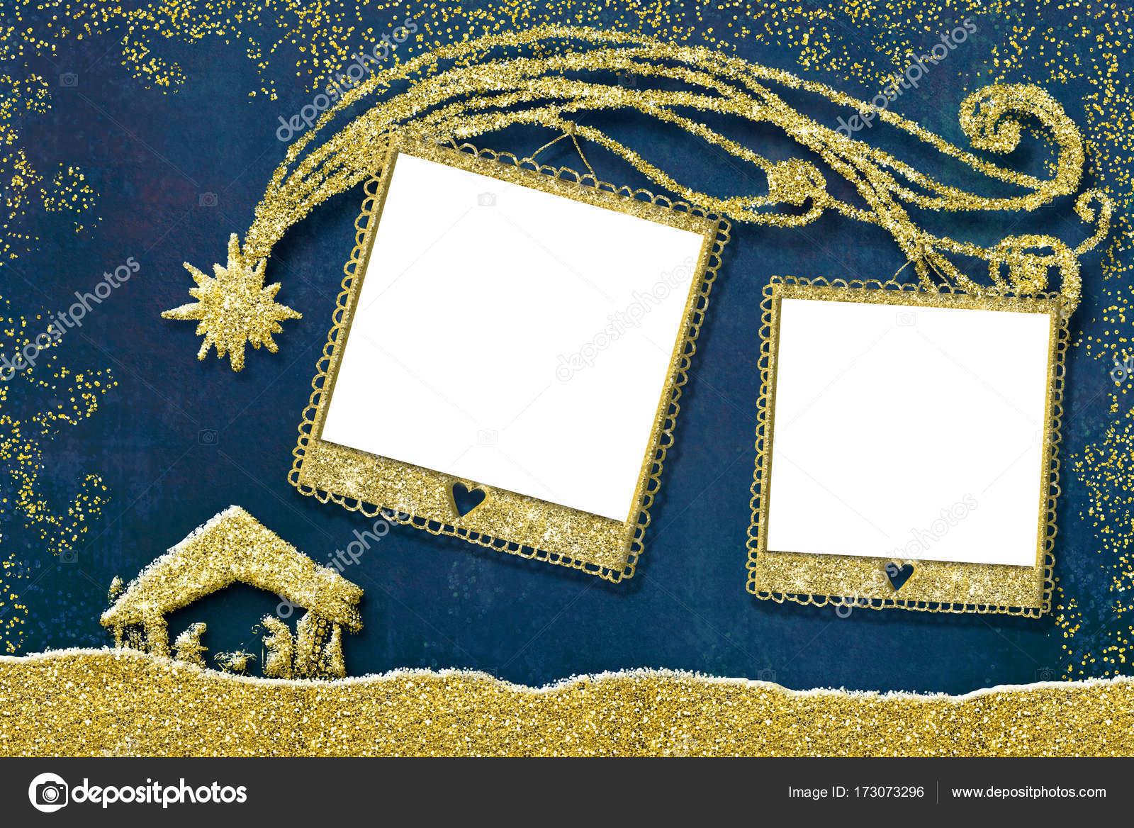 Tarjeta de Navidad dos foto marcos — Foto de stock © Risia #173073296
