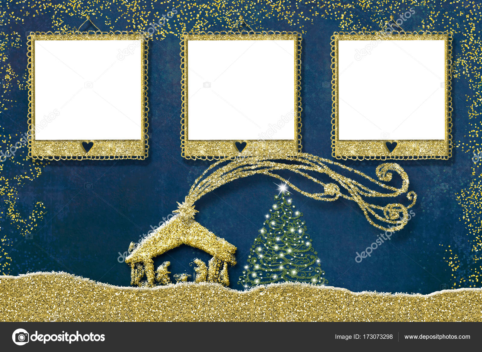 Drei Foto Rahmen Weihnachtskarte — Stockfoto © Risia #173073298