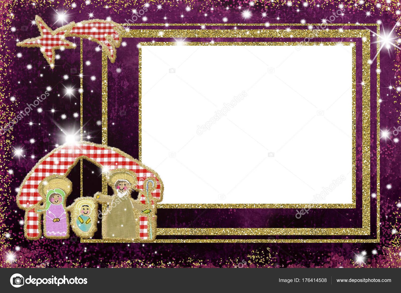 Lindo marco de escena de Natividad Navidad — Foto de stock © Risia ...