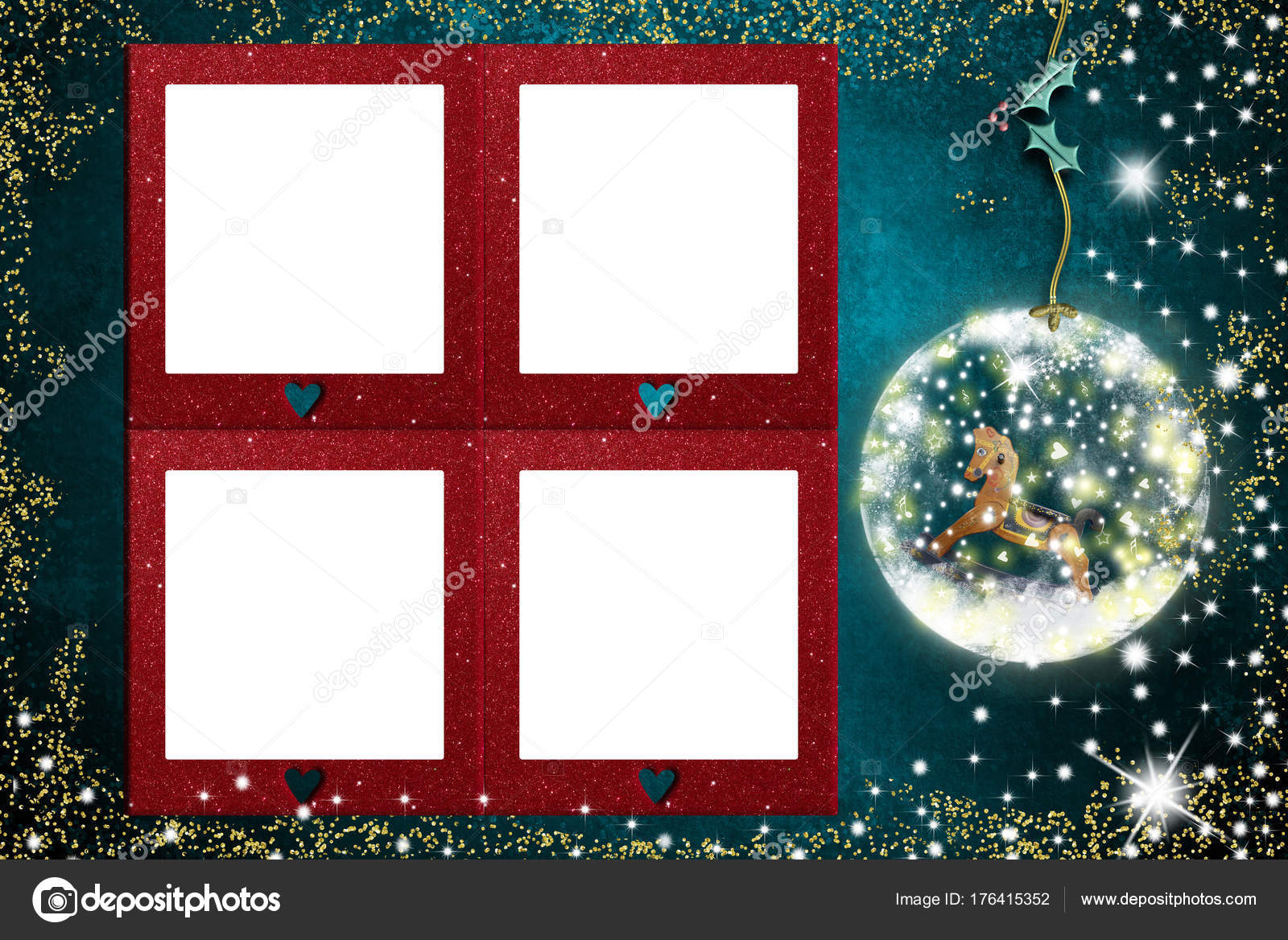 Four Photo frames Christmas card — Stock Photo © Risia #176415352
