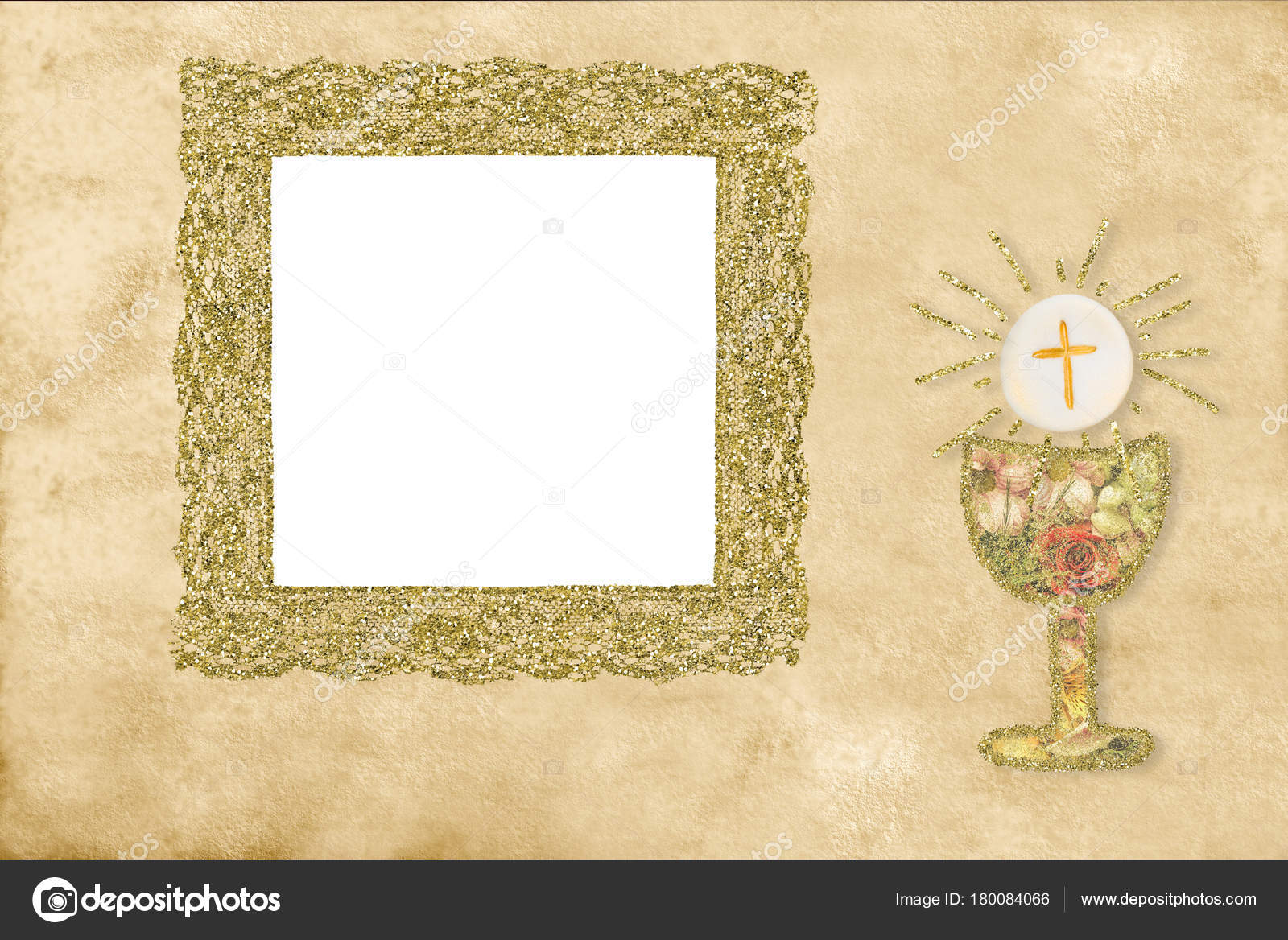 First Holy Communion Photo Frame Card Stock Photo Risia 180084066