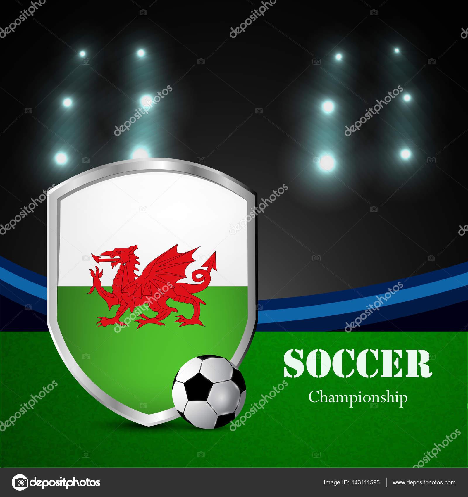Ilustración Bandera Gales Participando Torneo Fútbol — Archivo ...