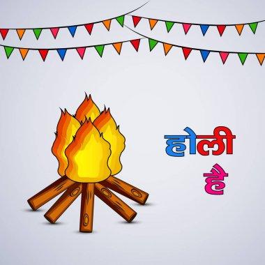 Illustration of hindi text holi hai meaning happy holi for Indian festival holi stock vector