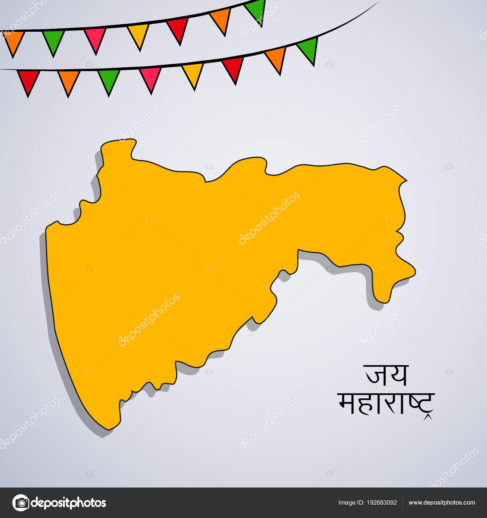 Illustration Indian State Maharashtra Map Hindi Text Jai ... on