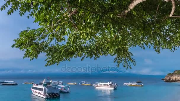 4K time lapse Tropical seascape  Exotic beach timelapse  Fantastic view to  the ocean, boats, big green tree on the front  Bali, Indonesia, Nusa  Lembongan  Volcano Agung on a background