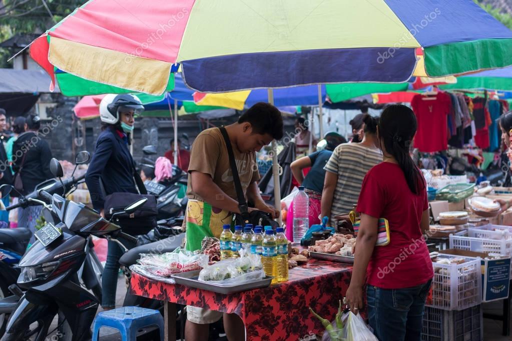BALI, INDONESIA - MAY 12, 2017: Traditional organic food market on Bali island, Indonesia.