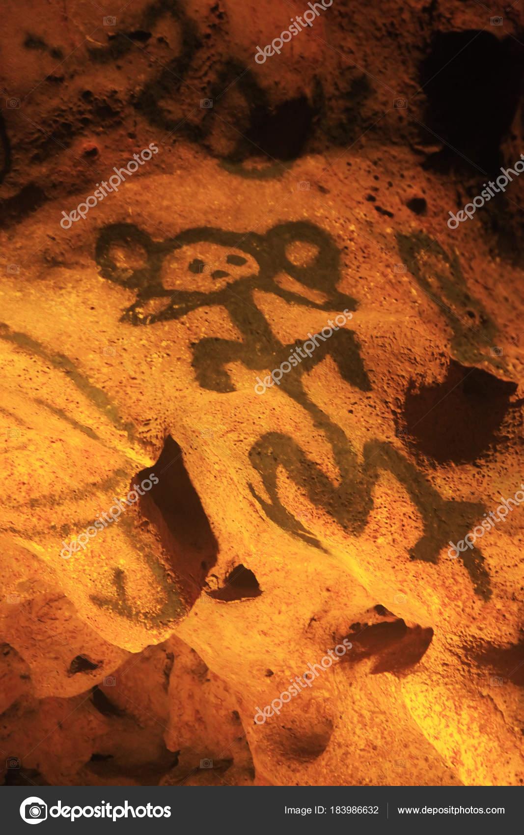 Jeskyne S Staroveke Kresby Cueva De Las Maravillas Stock