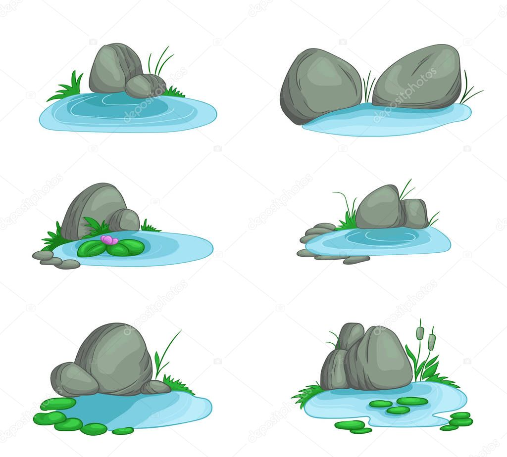 Ornamental pond with stones. Isolated on white background