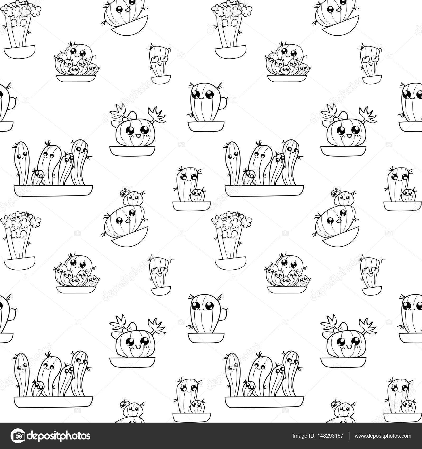 Pattern of cute cartoon hand-draw cactus in different pots — Stock