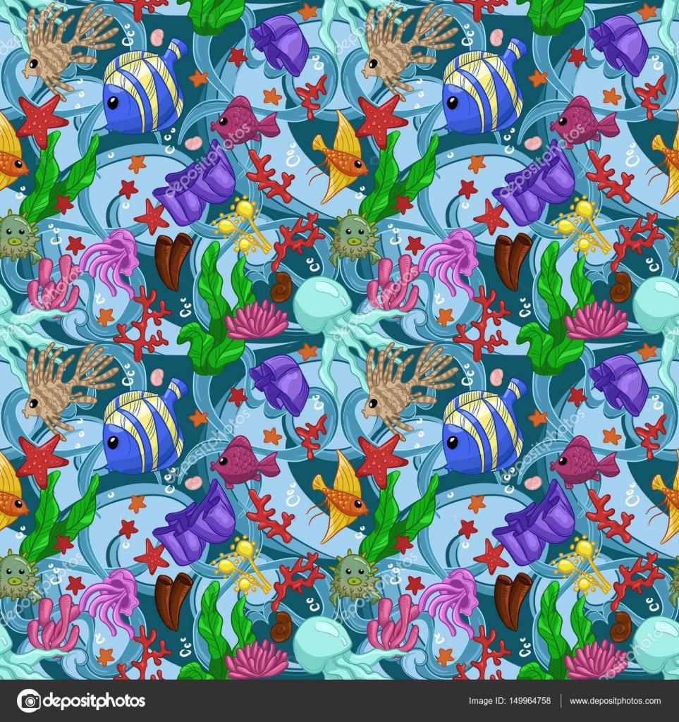 Nahtlose Muster Mit Meerestieren Quallen Fische Korallen Algen