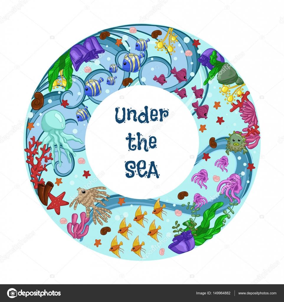 Torus Mit Meerestieren Fische Quallen Seesterne Korallen Und
