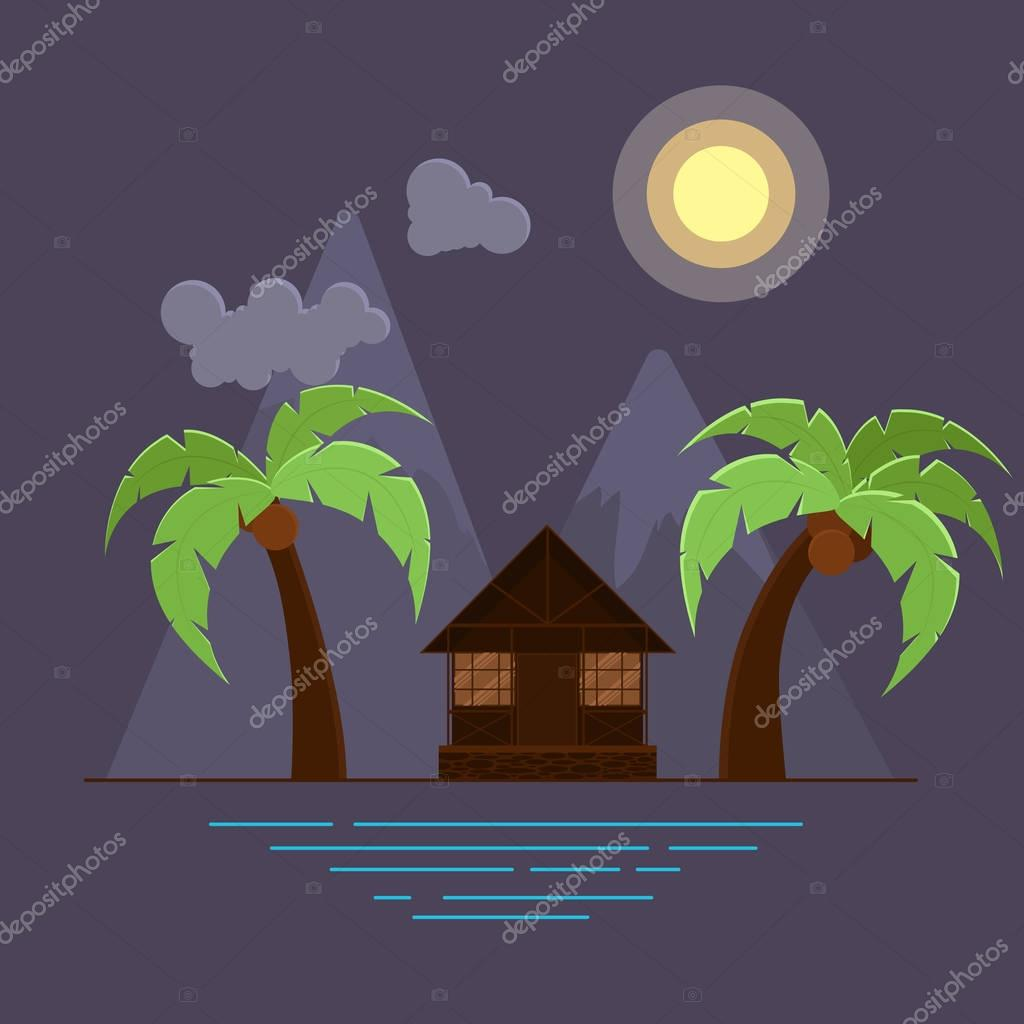 Vector illustration with two palms and bungalow on beach. Mountains on background. Night sea landscape.