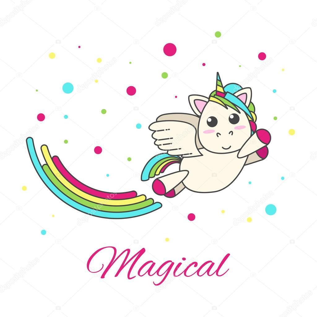 Diseño Del Rainbow Warrior Iii: Unicornio Volando Con Un Arco Iris Y Estrellas Sobre Un