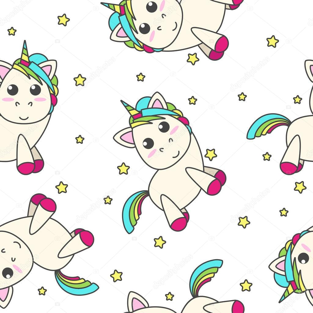 Diseño Del Rainbow Warrior Iii: Unicornio Arco Iris Con Las Estrellas Sobre Un Fondo