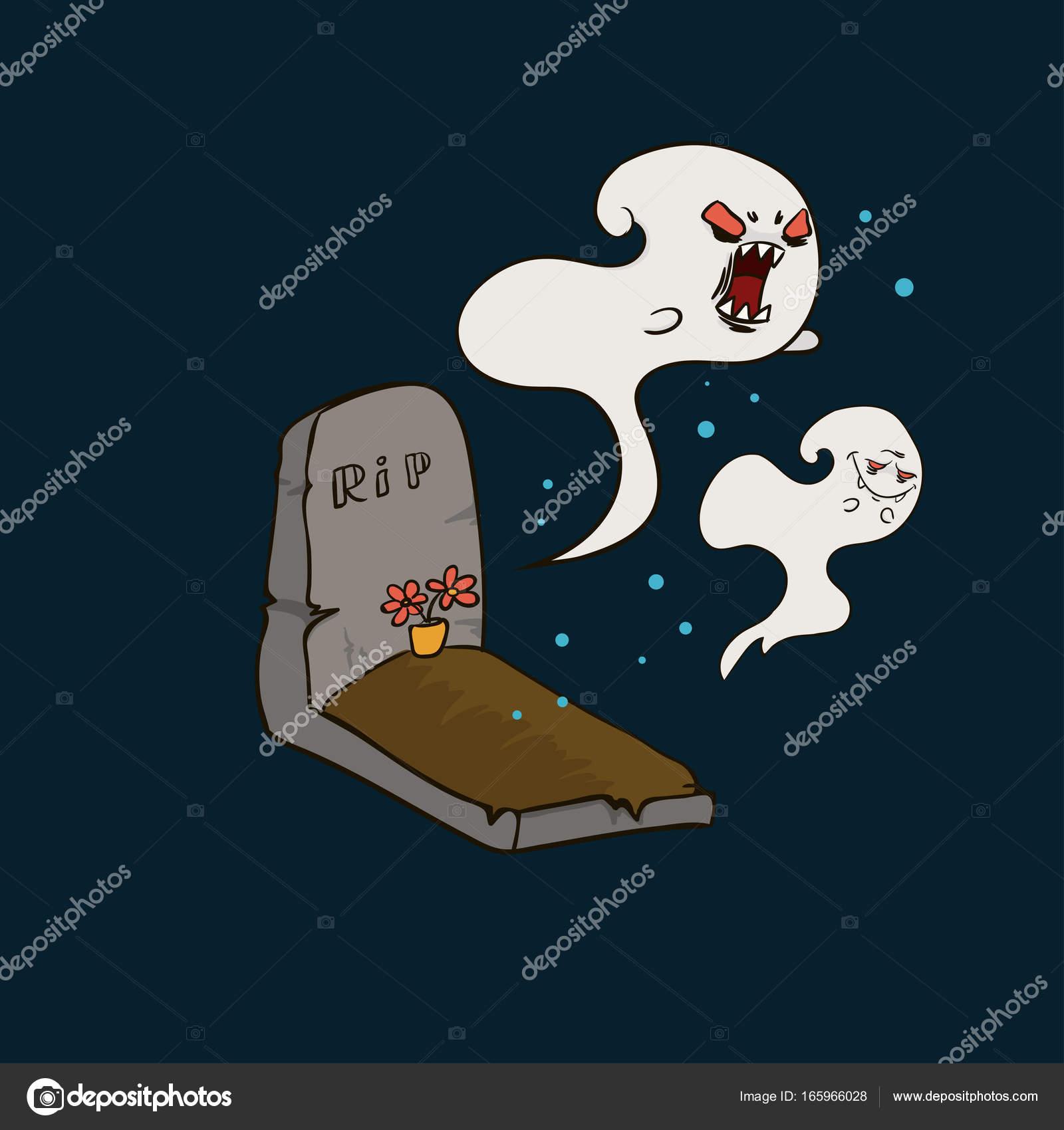 maus fantasmas no cemitério desenho à mão para o halloween vetor