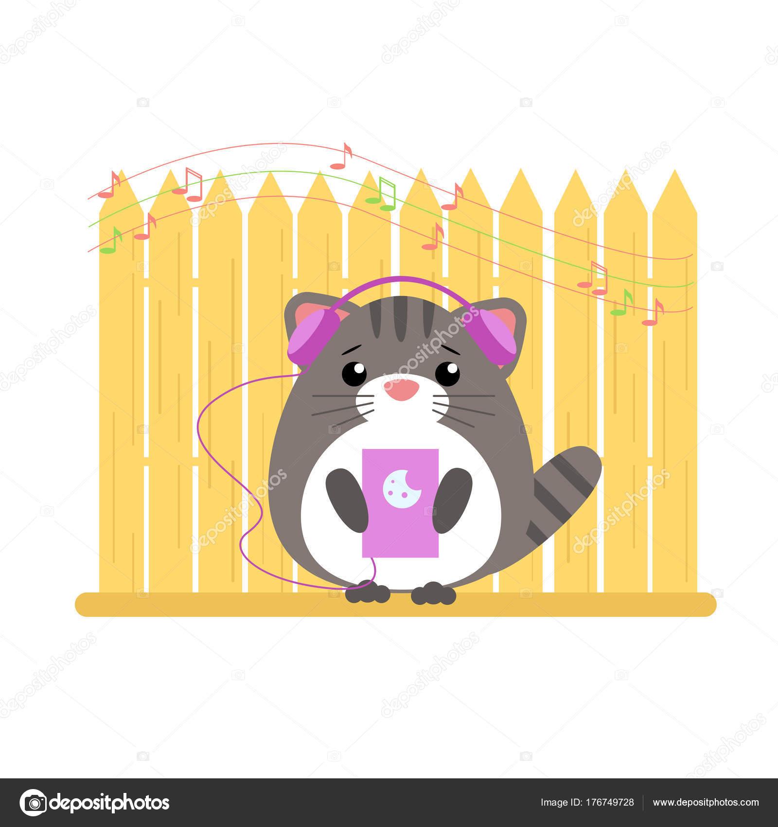 デバイスから音楽に耳を傾け擬人化灰色の猫のベクター イラストです