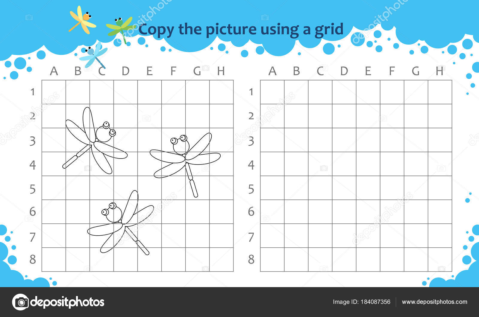 Copiar la imagen utilizando una cuadrícula. Juego educativo para los ...