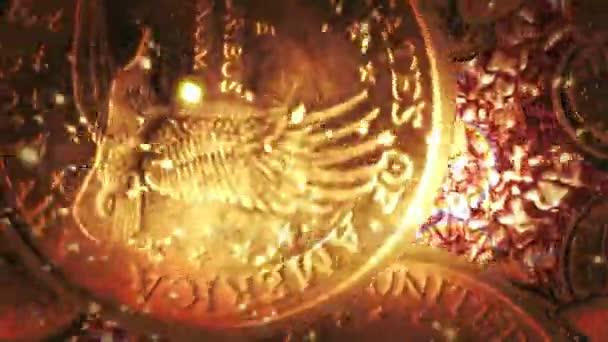 1 Dollar Münzen Flug Auf Flüssige Gold Hintergrund Stockvideo