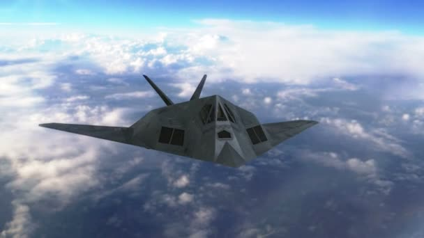 Stealth tryskové letadlo letící nad mraky