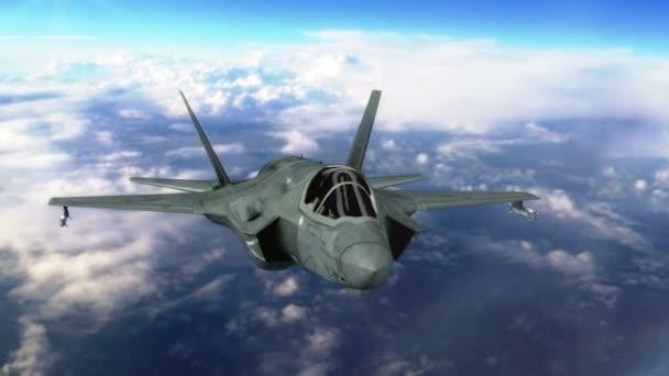 Vojenské tryskové letadlo letící nad mraky