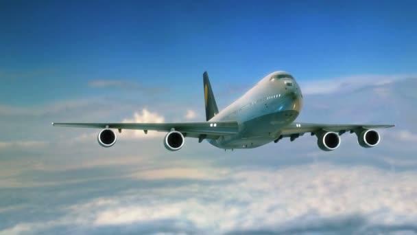 Velké tryskové letadlo a pilotujte Detailní záběr na obloze