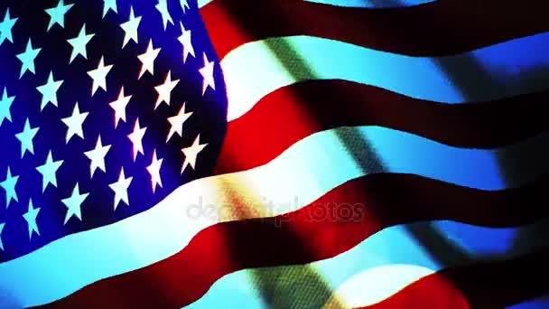 American Flag Slow Waving.