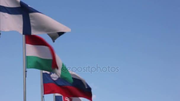 European Union countries flags waving