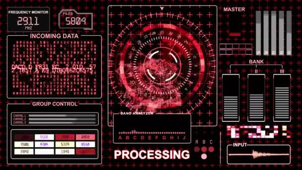 Futurisztikus felület - piros gamma - Hud technológiai háttér