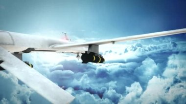 Military Predator Drone Flying Over The Clouds