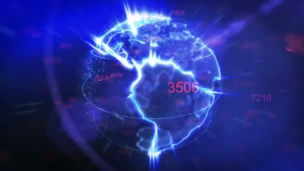 rotating Earth and flying digits - Technology background loop