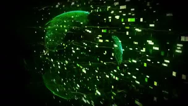 tečky se země otáčí v kyberprostoru 3d polí