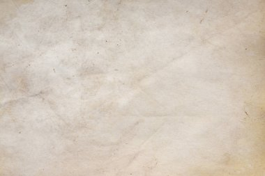Aged paper sheet. Blank old background with dust and dirty stains. Vintage and antique art concept. Poster mockup. Detailed closeup studio shot. Front view. Toned