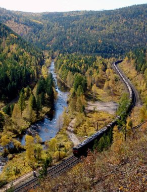 The TRANS-Siberian railway at the river Olkha in the Baikal region