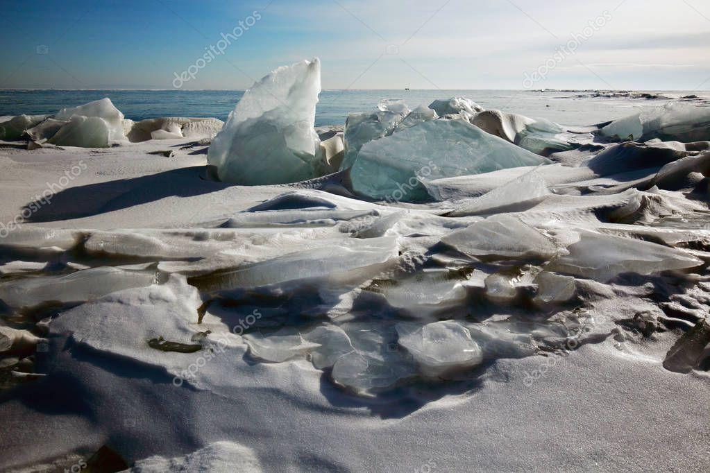 On lake Baikal in winter.