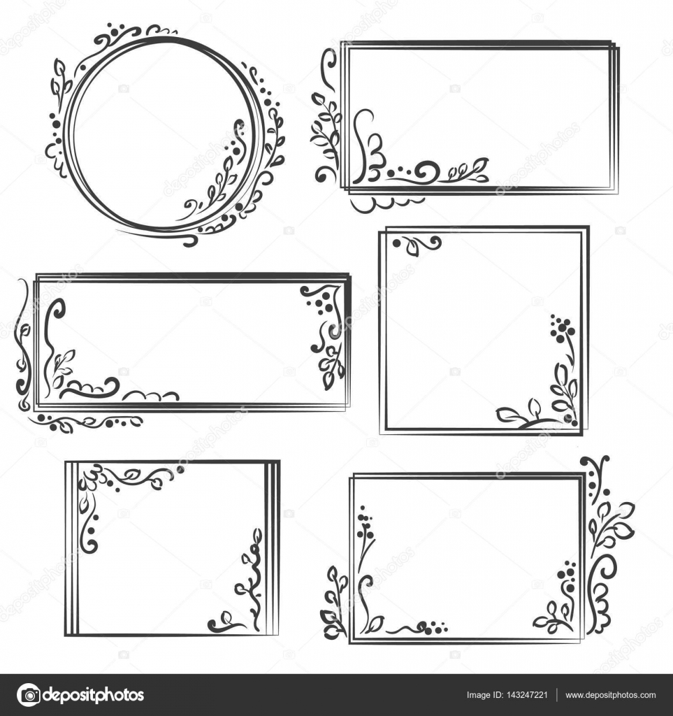Hand drawn frames set cartoon vector square and round borders hand drawn frames set cartoon vector square and round borders pencil effect shapes jeuxipadfo Images