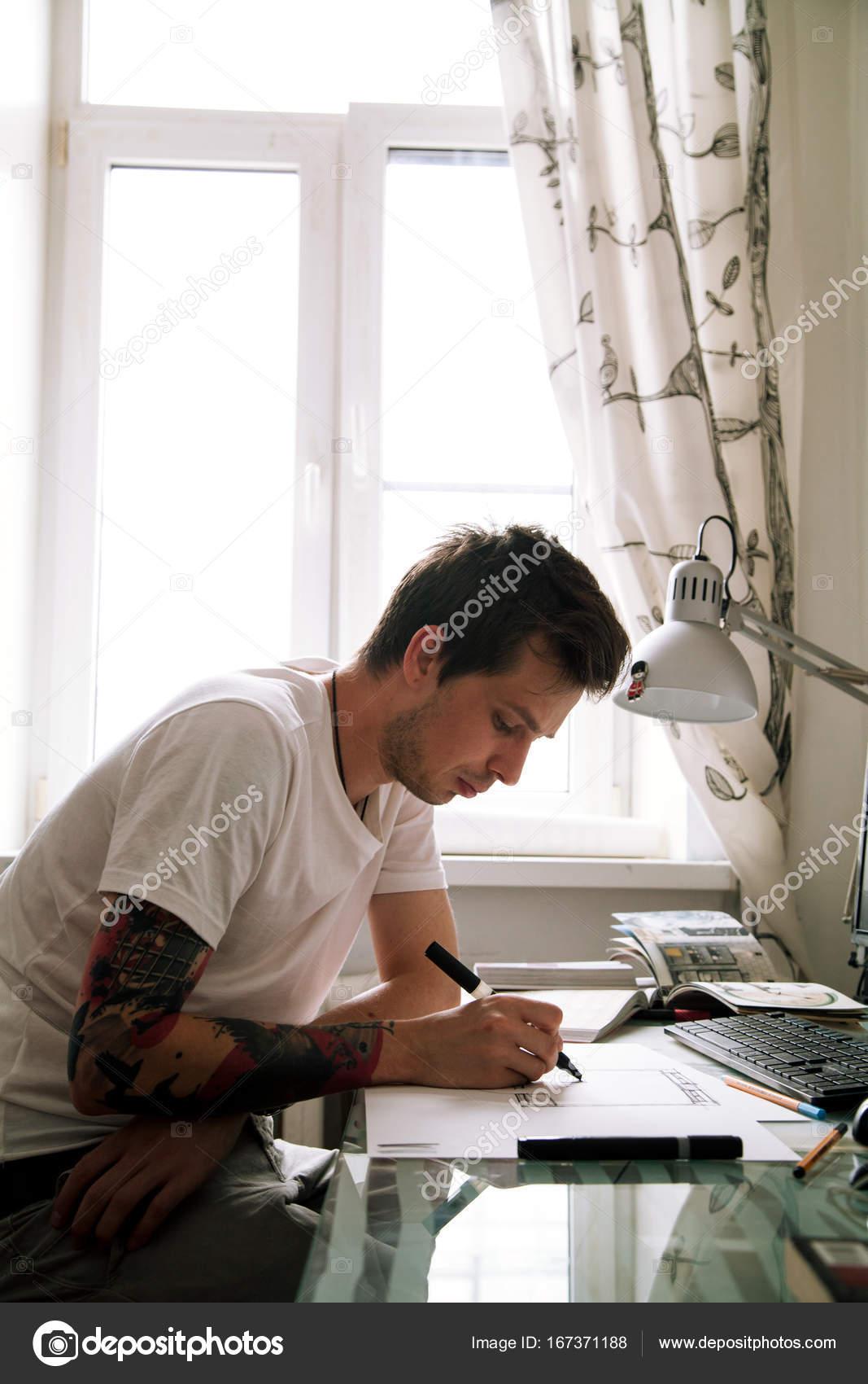 Young Interior Designer Working At Home Stock Photo C Asinskki 167371188