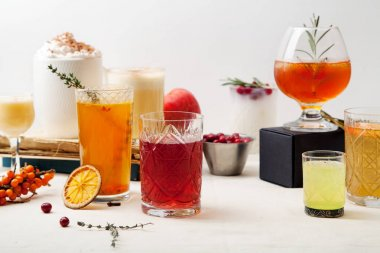 Set of winter cocktails