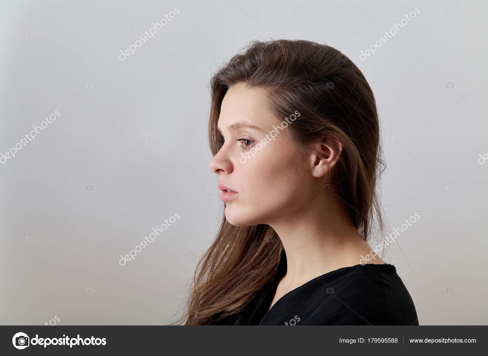 Mujer Studio Joven Retrato Fotos Perfil Camisa tq75v