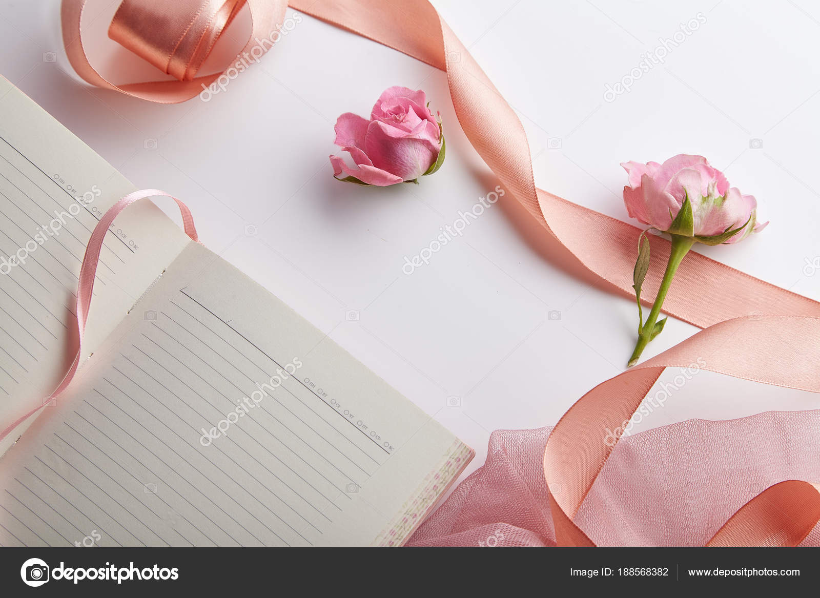fresh pink shrub roses peach colored ribbon opened empty notebook