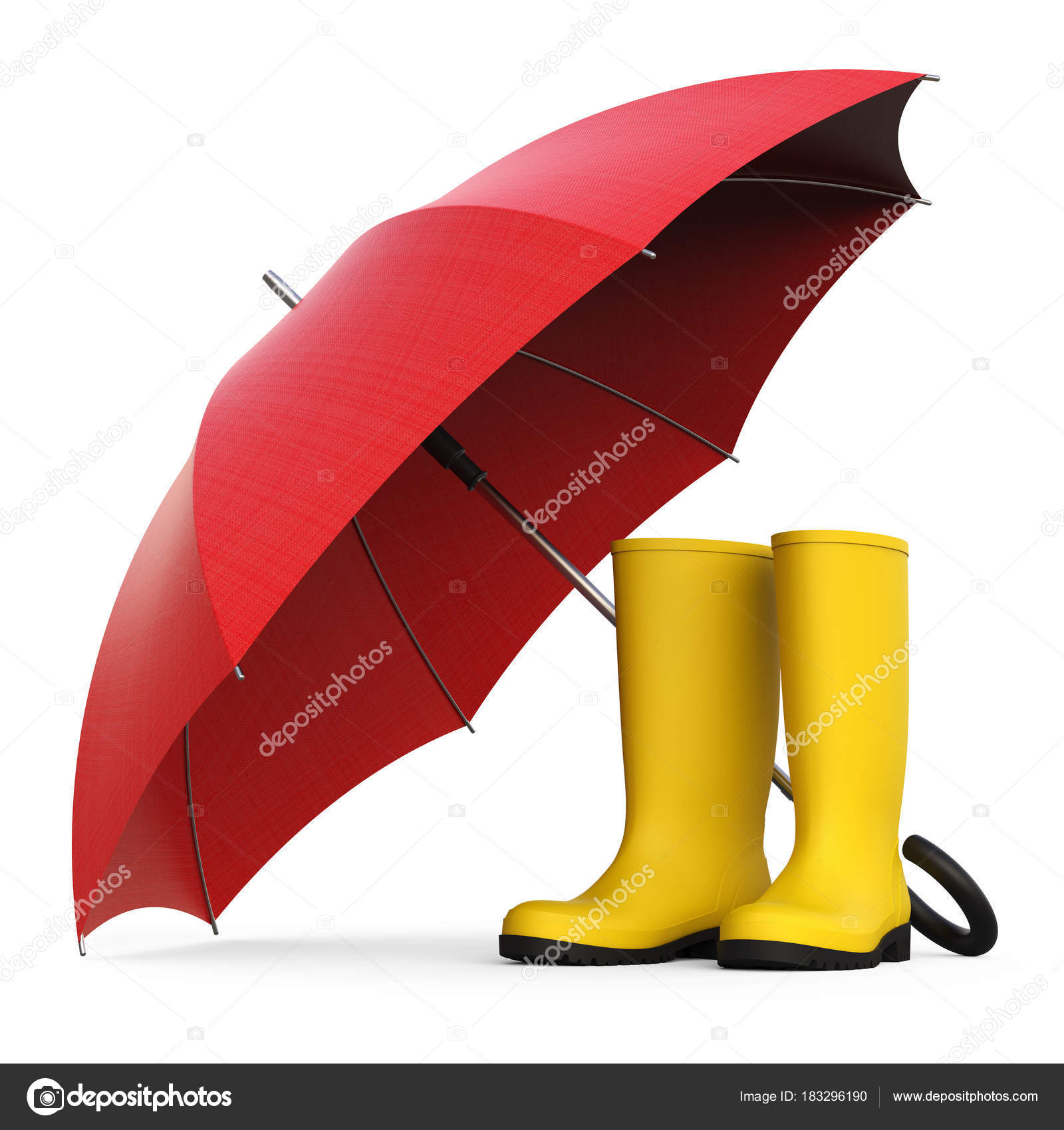 fedc09da9eaa1 A pair of yellow rain boots and a red umbrella isolated on white background 3D  rendering– stock image