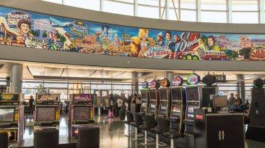 Mural and slot machines, McCarran International Airport terminal