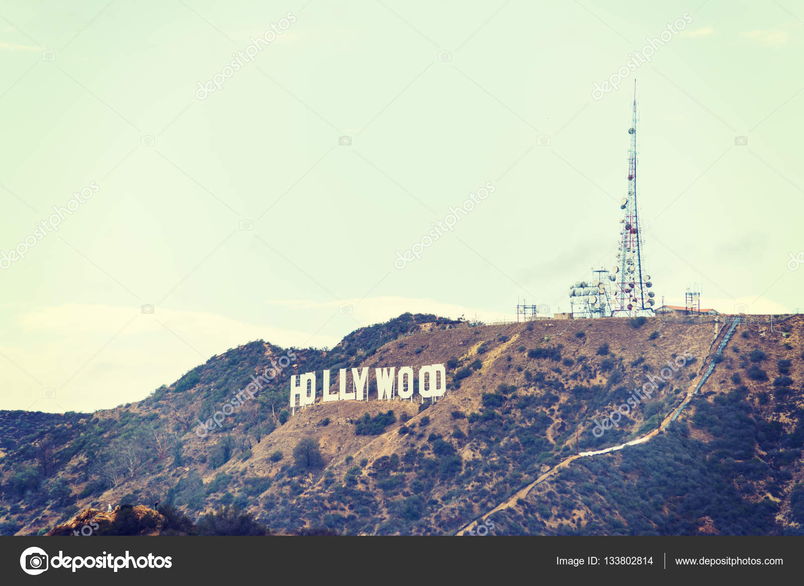 Hollywood Sign In Vintage Tone Stock Photo