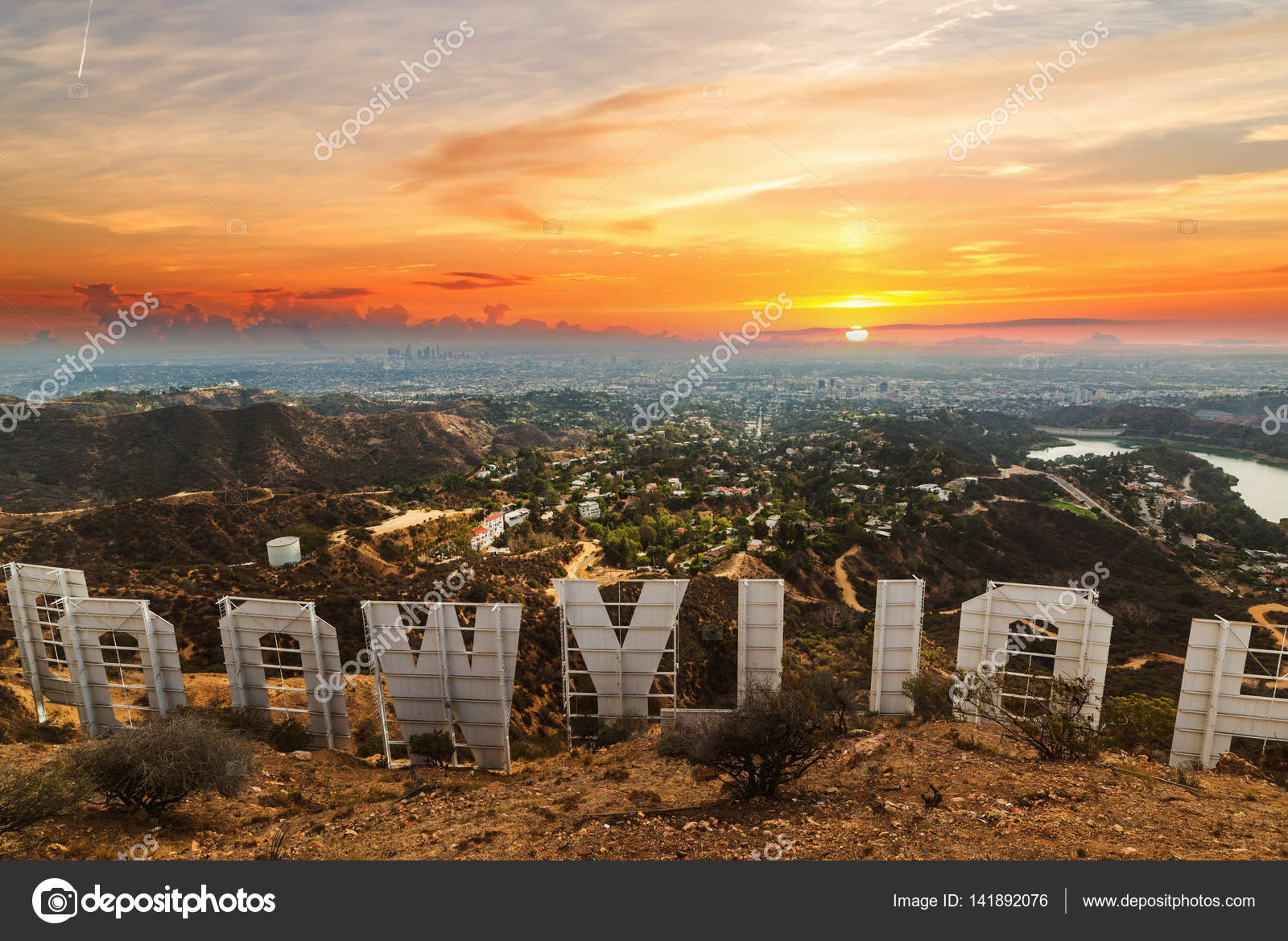 Hollywood Sign At Sunset Stock Photo