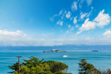 clouds over Alcatraz island