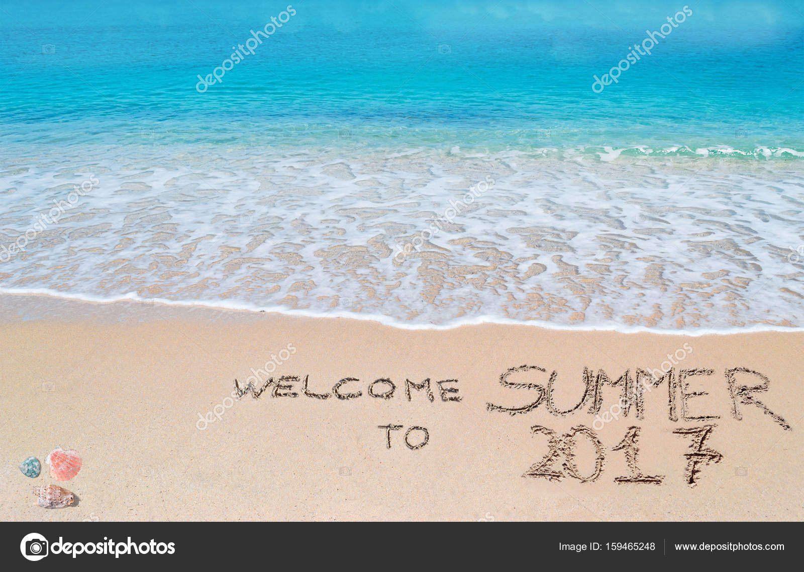 Welcome To Summer 2017 Written On A Tropical Beach U2014 Stock Photo