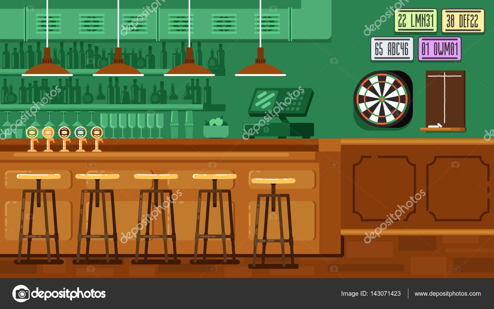 Restaurante Bar Con Mostrador En Estilo Plano Archivo