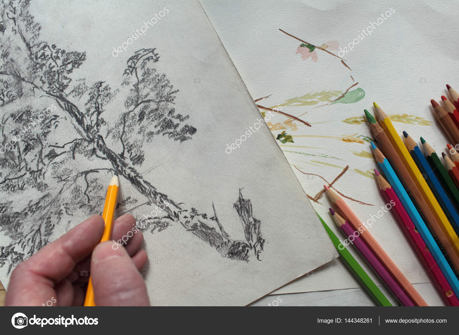 https depositphotos com 144348261 stock photo hand holding pencil drawing creative html