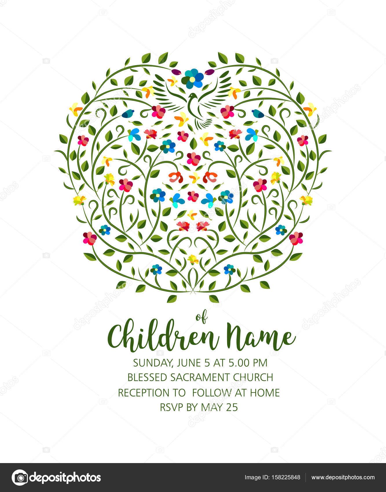 Taufe Einladen Einladung Vorlage Mit Taube Und Blumen