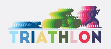 Swimming, running and cycling of triathlon graphic.